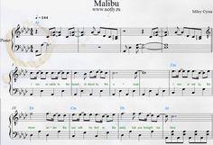 Miley Cyrus — Malibu Piano Sheets Download PDF Sheet Music Free #ноты