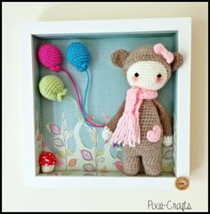 Handmade Crochet Plush Amigurumi Lalylala Bina Bear in Box Frame Picture. Ideal for baby nursery. 10 inches square. Great gift idea