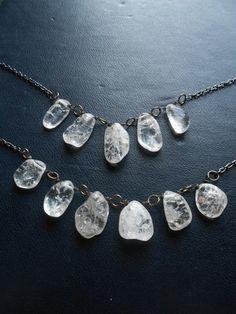 ghost waltz ii  crackled clear rock crystal bib by opulentoddities
