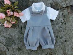 Baby boy romper. Linen overall. Baby boys by englaCharlottaShop