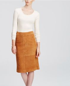 Ann Taylor Suede Midi Skirt in Praline Brown as seen on Jamie Chung White Midi Skirt, Calf Length Skirts, Winter Skirt Outfit, Star Fashion, Fashion 2015, Woman Fashion, Autumn Fashion, Suede Skirt, Looks Chic
