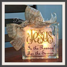 Christmas Jesus is the Reason for the Season Light Glass Block, GF018