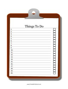A brown clipboard serves as the background for this free, printable Things to Do checklist with 20 spaces for entering in tasks. Free to download and print