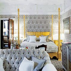 Nice bed, ceiling, and everything! Black and Yellow. Beste Hotels, Travel Tours, Travel Ideas, Travel Photos, London Hotels, Bed And Breakfast, Places To Go, Home And Family, Queen