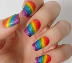 Rainbow glitter nails are the finishing touch that you need to be a true fashionista at pride this year. Here are some amazing rainbow glitter nails for pride that you need to try! Rainbow Nails, Gradient Nails, Glitter Nails, Acrylic Nails, Coffin Nails, Rainbow Nail Art Designs, Unicorn Nails Designs, Colorful Nail Designs, Fancy Nails