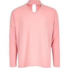 Checkout this Girls pink slouch knit choker jumper from River Island