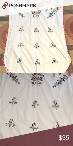 Last One Gorgeous Handmade Mexican Caftan All Sz This is the last one of these beauties my sissy brought home ! Some for her some for you ! It is gorgeous in person ... hand embroidered true white and loose and flows can fit up to a 3 x ready for you to relax in ❤️ handmade Dresses Maxi