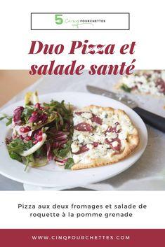 Pizza deux fromages et salade santé ! Le duo parfait !   #salade #salade #grenade #pommes #poires #roquette #naan #bléentier #ricotta #chèvre #bleu #sansviande