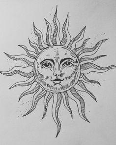 Dark Art Drawings, Art Drawings Sketches, Tattoo Drawings, Cute Drawings, Sun Tattoos, Dope Tattoos, Small Tattoos, Arte Punk, Desenho Tattoo