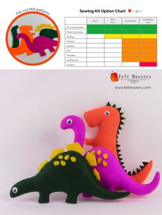 pre-cut felt patterns- sewing kits Sewing Kits, Sewing Box, Sewing Basics, Felt Patterns, Pdf Patterns, Masters, Dinosaur Stuffed Animal, Toys, Master's Degree