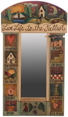 Sticks Small Mirror by Sarah Grant, Live Life