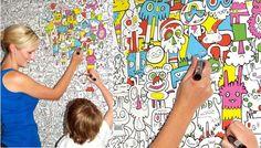 Interessante Burgerdoodles Colour-In Wallpaper, um papel de parede feito para ser pintado e customizado com qualquer tipo de caneta.