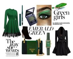 """""""Emerald Look"""" by eladaily on Polyvore featuring WithChic, Prada, Estée Lauder, Rimmel, Gianvito Rossi and Green Girls"""