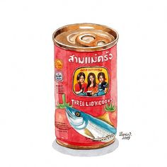 Three Lady Cooks brand with mackerel in tomato sauce, product from Thailand. My favorite Cá mòi hộp 3 Cô Gái made in Thailand 😋 🐟🐟🐟… Hotel Food, Food Sketch, Pop Stickers, Watercolor Food, Food Painting, Food Drawing, Cute Packaging, Drawing Lessons, Kawaii Art