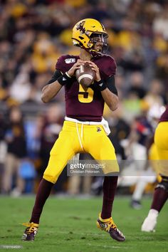 Quarterback Jayden Daniels of the Arizona State Sun Devils drops back to pass during the first half of the NCAAF game against the Arizona Wildcats at Sun Devil Stadium on November 2019 in Tempe,. Get premium, high resolution news photos at Getty Images Arizona Wildcats, Arizona State, Sun Devil Stadium, Cool Football Helmets, College Football Uniforms, Sports Teams, Forks, Conference, Eagle