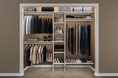 Reach-in closet storage design ideas .good price and design Closet Shelves, Closet Storage, Closet Organization, Closet Wall, Bedroom Storage, Modern Closet Organizers, Closet Interior, Armoire, Ikea