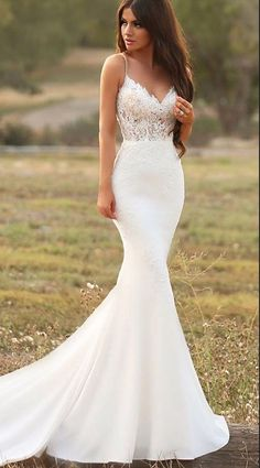white mermaid long wedding dress,evening dress with lace #BridalDresses #WeddingGowns #Wedding #WeddingDresses