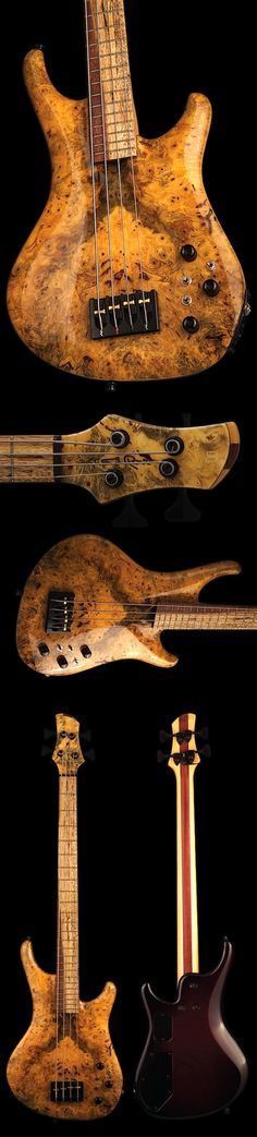 Roscoe four string bass with golden orange and brown mottled, buckeye burl top. Really pretty pattern on fretboard also. #DdO:) - https://www.pinterest.com/DianaDeeOsborne/instruments-for-joy/ - INSTRUMENTS FOR JOY. Long pin panel shows many aspects of body and neck. Mike Witzenhausen BASSES #Pinterest board.