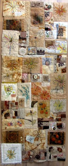 "Lovely patchwork art quilt: Jane LaFazio - ""I created a bunch of small quilts, often stitching as my evening ritual, and then, when a deadline draws closer, I sew them all together to create a larger quilt. Patchwork Quilting, Crazy Quilting, Crazy Patchwork, Art Quilting, Quilting Ideas, Quilting Templates, Fabric Art, Fabric Crafts, Textiles"