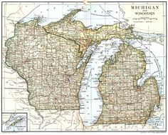 Midwest US Map From The Wisconsin Digital Map Library - Wisconsin in us map