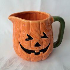 Halloween Dishes, Pumpkin Pitcher, Vintage, Jack O Lantern, Halloween Serving, Orange and Black, Halloween decor, JackoLantern Juice, Spooky