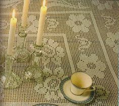 Free Crochet Roses Filet Tablecloth Pattern