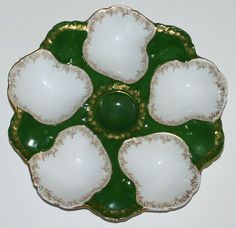 Antique Limoges Oyster Plate with Deep Wells by Tressemanes and Vogt
