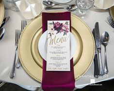 Gold plate with burgundy napkins and burgundy menu for a vintage wedding in August