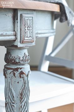 This gorgeous painted dining table has just the right amount of chippy distressing. Can you believe it was just painted? Milk paint is amazing! Chalk Paint Furniture, Furniture Projects, Furniture Makeover, Painted Furniture, Diy Furniture, Repurposed Furniture, Dining Table Makeover, Grey Dining Tables, Cherry Furniture