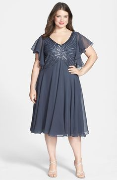 Free shipping and returns on J Kara Beaded Dress (Plus Size) at Nordstrom.com. Beads form a glittering starburst that wraps to the back of a flowy dress finished with sheer flutter sleeves.