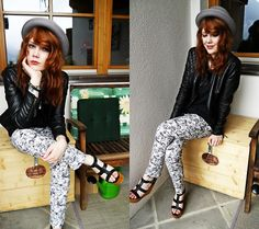 H Black/White Trousers, Black Leather Wooden Heels