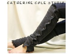 Charcoal grey Button down black lace leg warmers $29.50 by CatherineColeStudio