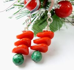 Red Green Chrysocolla Christmas Holiday Sterling Beaded Earrings | dianesdangles - Jewelry on ArtFire