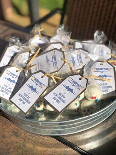 Blue and Gold Top Gun Favors   #topgunparty #blueandgoldtopgunparty #feeltheneedforspeed Party Favor Bags, Favor Tags, Top Gun Party, Unique Party Themes, Cupcake Display, Food Tent, Retirement Parties, Gold Top, Party Cakes