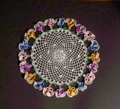 Vintage Crocheted Doily Iris Purple Yellow by MargsMostlyVintage, $10.00