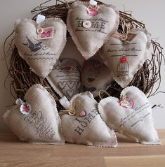 Burlap Hearts - stamp or print designs on burlap, love the buttons, would like to see more twine incorporated - #burlap #hearts #sewing ≈√