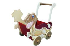 Dinosaur Push Cart - Explore a land that time forgot with the dinosaur themed cart. Can be used as an aid to stability when walking, transporting toys or for easy storage, as well as making a striking decorative piece.