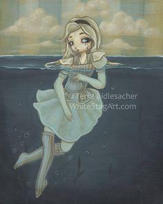 Alice in wonderland art print fairy lowbrow fantasy by WhiteStag