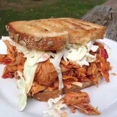 Spicy, Sweet Pulled Chicken Sandwich topped with Cole Slaw served on Multi-Grain Toast‼️ Roll Up Sandwiches, Shredded Chicken Sandwiches, Cole Slaw, Pulled Chicken, Expensive Taste, Game Day Food, Spicy, Food Porn, Toast