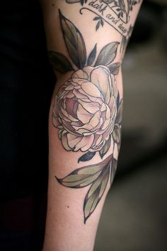 Must Have Blacked Out | kirstenmakestattoos:   Pale pink and yellow peony...