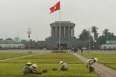 Ho Chi Minh's Mausoleum, Hanoi, Vietnam.  Military personnel literally pointed their guns at me here...