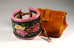 Leather Cuff Bracelet. Floral ornament. Carving leather bracelet.  by TiVergy on Etsy https://www.etsy.com/listing/224647211/leather-cuff-bracelet-floral-ornament