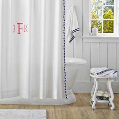 Pom Pom Shower Curtain, Royal Navy   PBteen