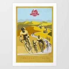 Strade Bianche retro cycling classic art Art Print