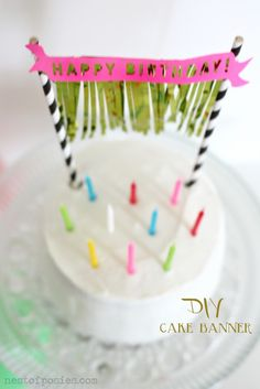 DIY::Birthday Cake Banner with Fringe & a free Silhouette download