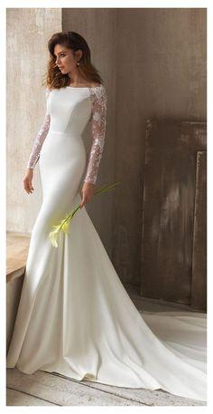 Long Sleeve Bridal Dresses, Wedding Dress Sleeves, Long Sleeve Wedding, Long Wedding Dresses, Bridal Gowns, Lace Sleeves, Wedding Dress Long Train, Satin Wedding Dresses, Wedding Dress Necklines