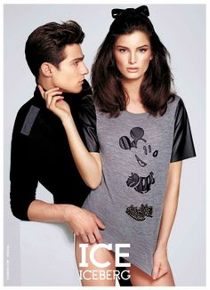 A sexed up advertisement for a Mickey Mouse shirt. Are you seeing the pattern?