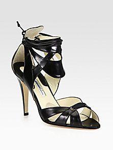 Brian Atwood - Uma Leather Ankle Cuff Platform Sandals