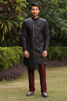 Buy Solemn Blue Indo Western - Contemporary wear from the house of Manyavar. Choose from a wide range of designer Indo western, Sherwani, traditional dresses for men online. Sherwani For Men Wedding, Wedding Dresses Men Indian, Wedding Dress Men, Tuxedo Wedding, Wedding Outfits, Wedding Wear, Indian Men Fashion, Mens Fashion Suits, India Fashion