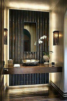 Beautiful Bamboo Wall Panels for Interior and Exterior Home: Glossy Finished Floor Bamboo Wall Panels With Rustic Cover Wall Lamp And White . - Home Decorating Magazines Bad Inspiration, Bathroom Inspiration, Bathroom Ideas, Bathroom Designs, Bathtub Designs, Shower Designs, Home Design, Design Ideas, Design Design